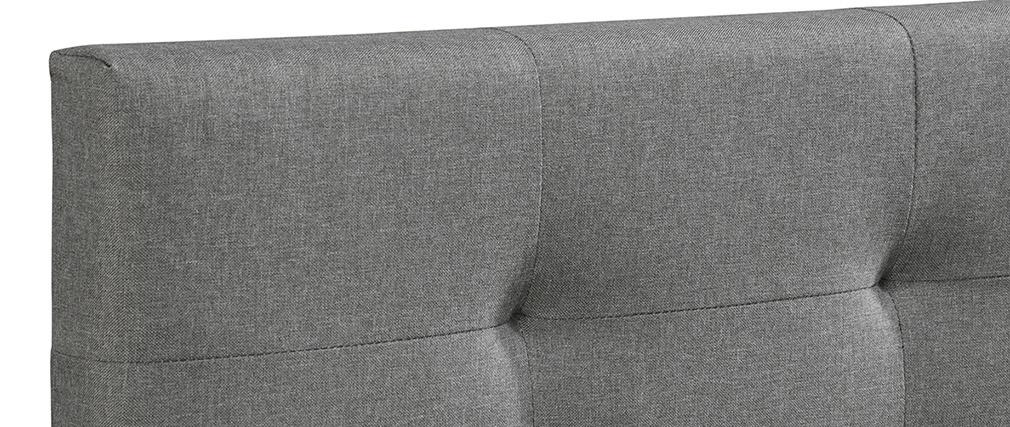 Cama 180 x 200 tela gris acolchada MARQUISE