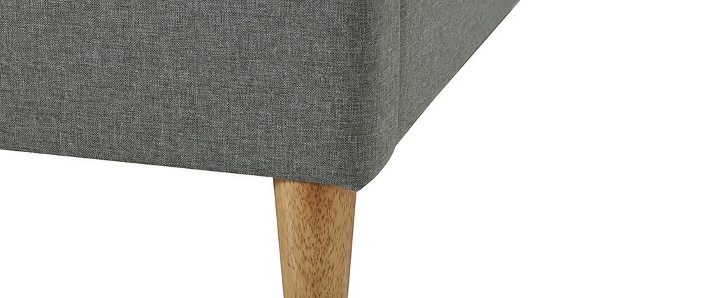 Cama adulto 160 x 200 cm con somier en tejido gris claro AYO