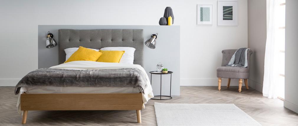 Cama adulto escandinavo madera y tejido beige 140 x 200cm LYNN