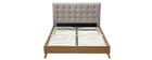 Cama adulto escandinavo madera y tejido beige 160 x 200cm LYNN