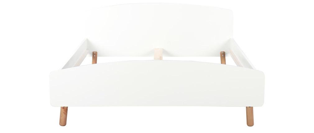 Cama adulto estilo nórdico 160 x 200 cm madera y blanco NEA