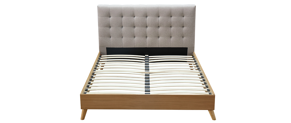 Cama adulto estilo nórdico madera y tejido beige 160 x 200cm LYNN