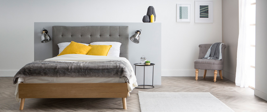 Cama adulto estilo nórdico madera y tejido gris 160 x 200cm LYNN