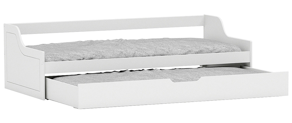 Cama banco infantil con cajón 90x200 pino blanco THEO