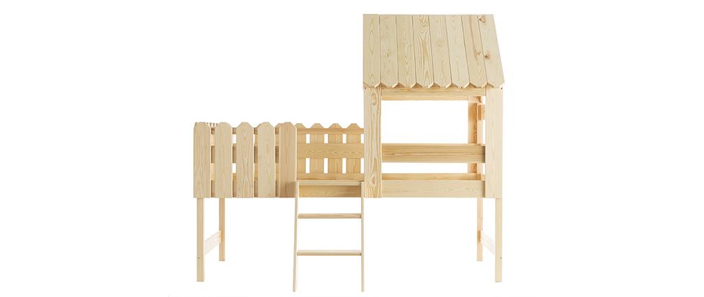 Cama cabaña infantil en pino macizo LITTLE HOUSE