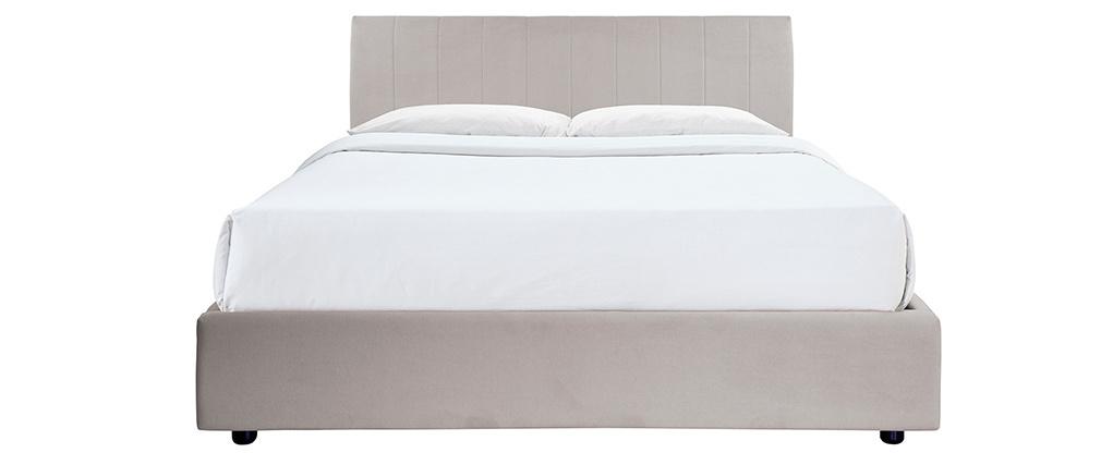 Cama canapé 160x200 cm efecto terciopelo gris claro MACHA