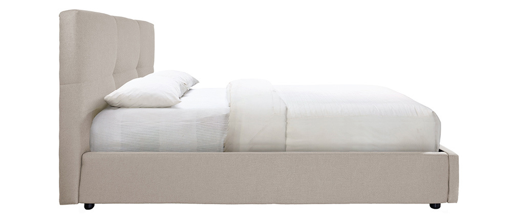 Cama canapé 160x200 cm en tejido beige SOGNO