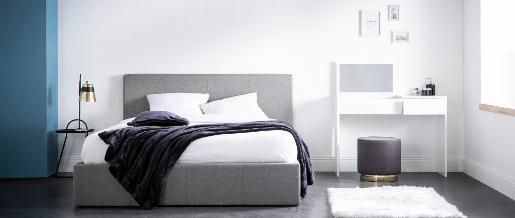 Cama canapé 160x200 cm en tejido gris claro APOLLON