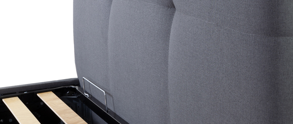 Cama canapé 160x200 cm en tejido gris claro SOGNO