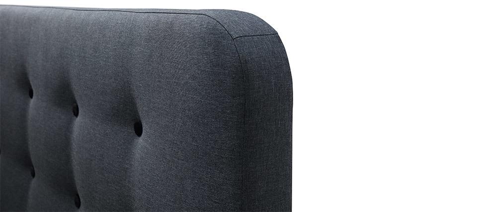 Cama capitoné tejido gris oscuro 140 x 200cm HOLSEN