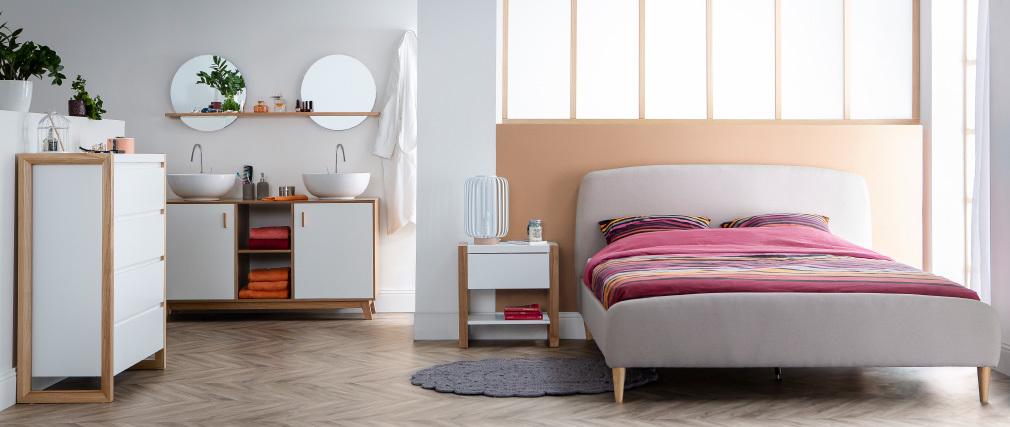 Cama escandinava 140 x 200cm tejido beige NIELS