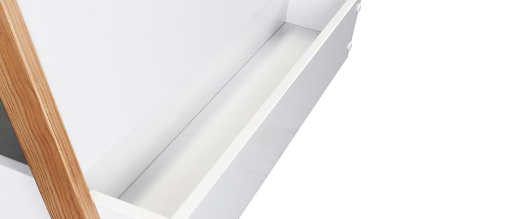 Cama infantil barco blanco y madera clara (somier no incluido) TIMEHLO