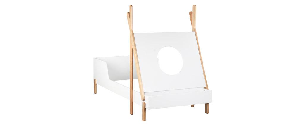 Cama infantil barco blanco y madera clara TIMEHLO