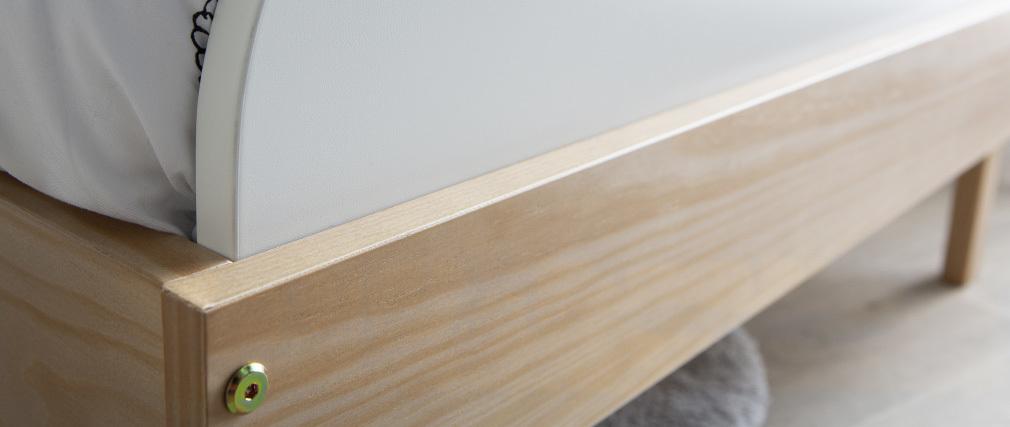 Cama infantil blanca y madera KUNG