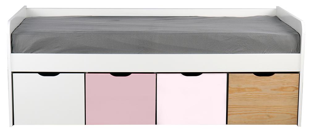 Cama infantil con almacenaje 4 cajones madera, blanca y rosa MOLENE