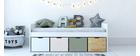 Cama infantil con almacenaje 4 cajones madera, blanca y verde MOLENE