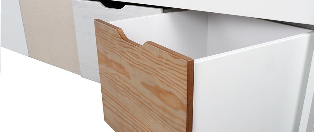 Cama infantil con almacenaje 4 cajones madera y blanca MOLENE