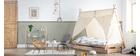 Cama infantil con almacenaje madera y algodón natural APACHE