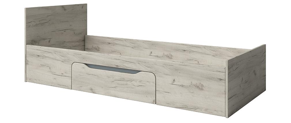 Cama infantil con cajón 90 x 200 cm fresno blanco y gris TOM
