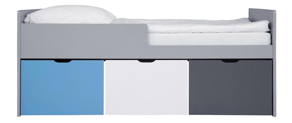 Cama infantil con cajones 90x190 cm azul, blanco y gris JULES