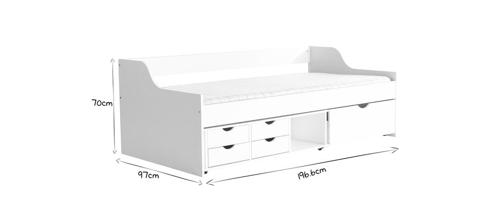 Cama infantil con cajones 90x190 pino blanco CLEO