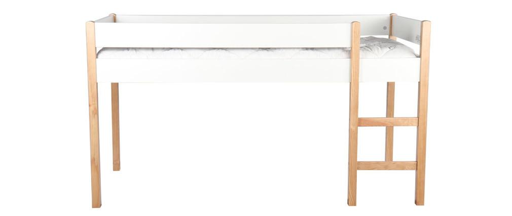 Cama infantil elevada en pino blanco ALTO