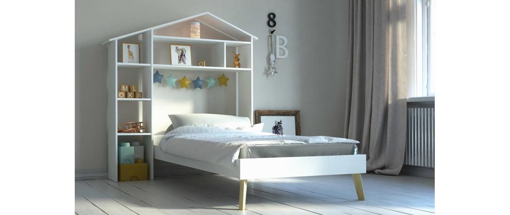 Cama infantil y cabecero con almacenaje 160 x 200 cm HOME