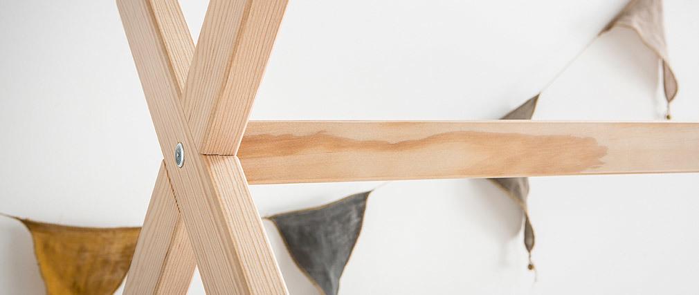Cama y somier infantil cabaña madera 90x190cm KBANE