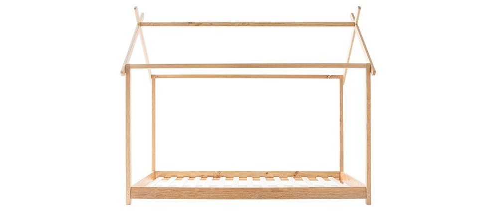 Cama y somier infantil cabaña madera 90x200cm KBANE