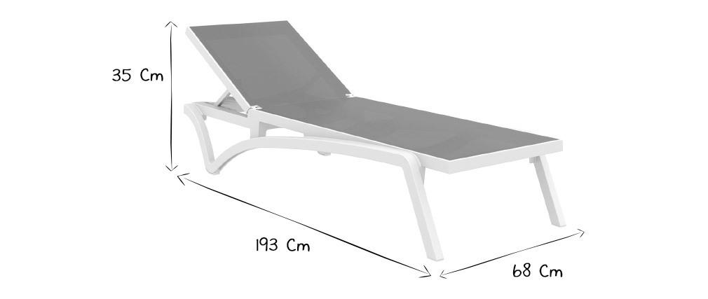 Chaise longue blanca y topo CORAIL