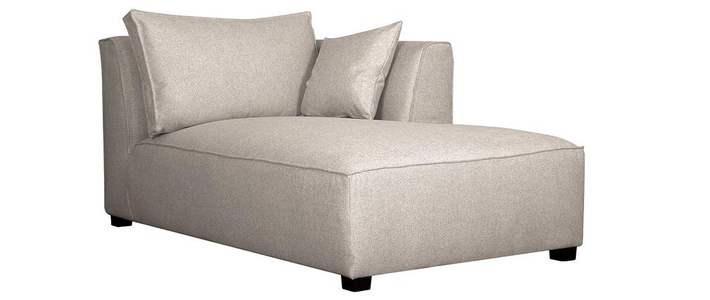 Chaise longue esquina derecha en tejido beige PLURIEL