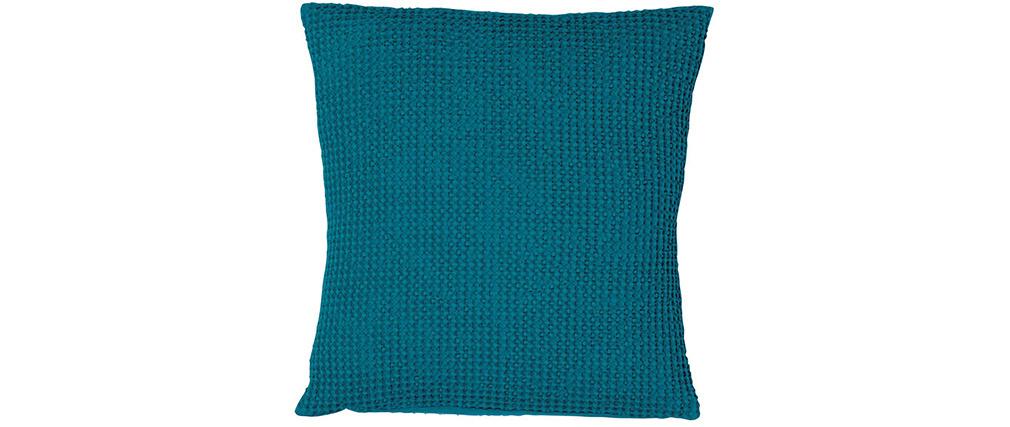 Cojín en algodón azul topacio 45 x 45 cm YAM
