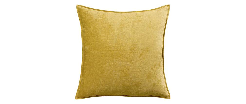 Cojín en terciopelo amarillo curry 60 x 60 cm ALOU