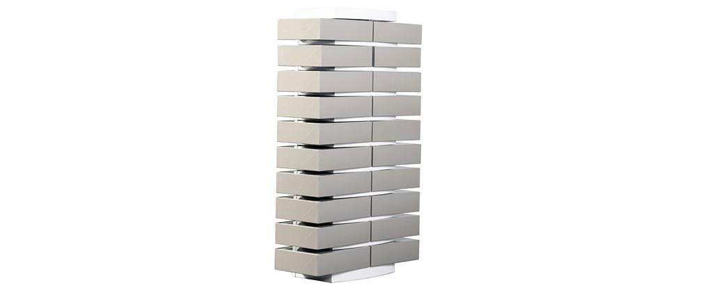 Columna de almacenaje blanca de diseño y sus 20 cajas clasificadoras gris claras