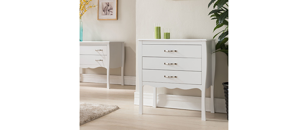 Cómoda diseño clásico blanca 3 cajones MARGOT