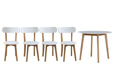 Conjounto mesa y 4 sillas blanco y madera LEENA