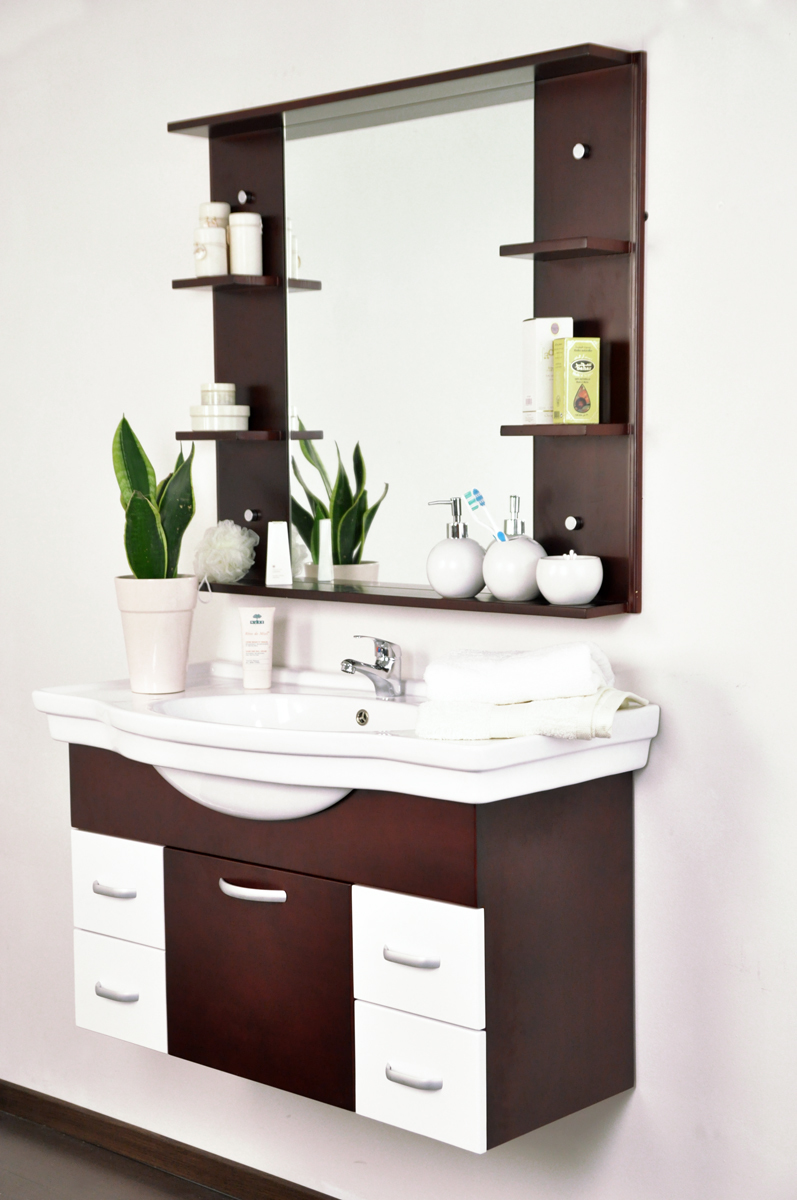 Conjunto de muebles de cuarto de ba o lismore lavabo mueble debajo del lavabo y espejo miliboo - Muebles cuarto bano ...