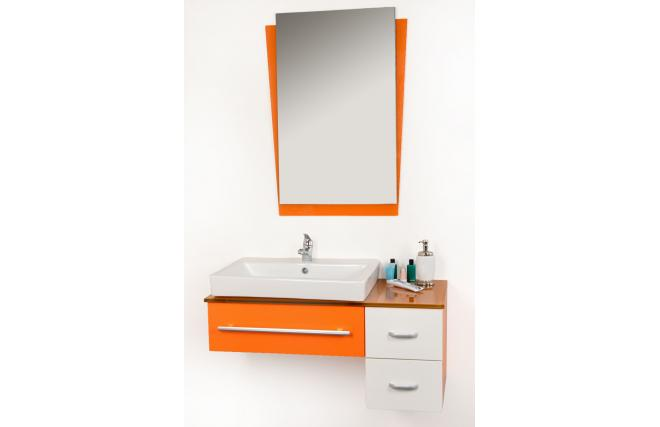 Conjunto de muebles de cuarto de ba o pop naranja lavabo for Muebles para debajo del lavabo