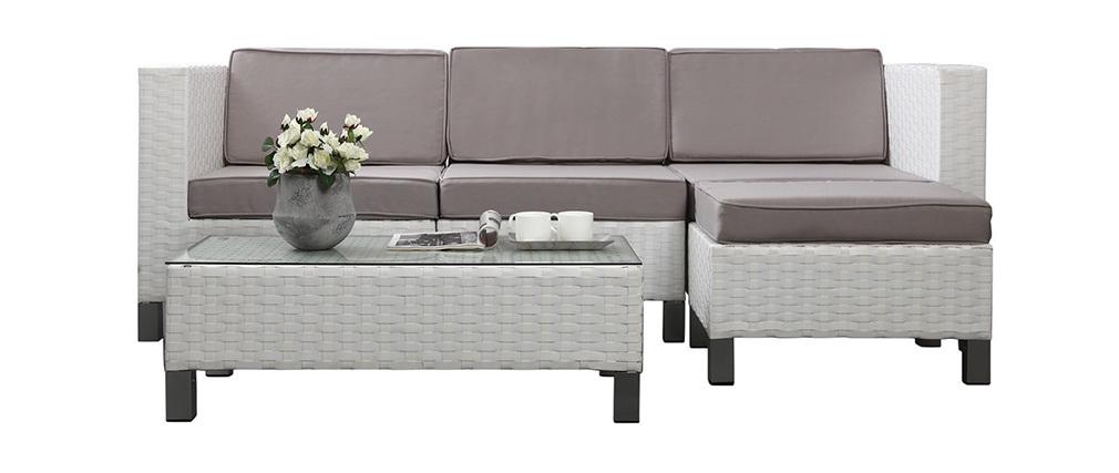 Conjunto HAWAI- 2 sillones esquineros y 1 sillón central, 1 mesa de salón y 1 puf