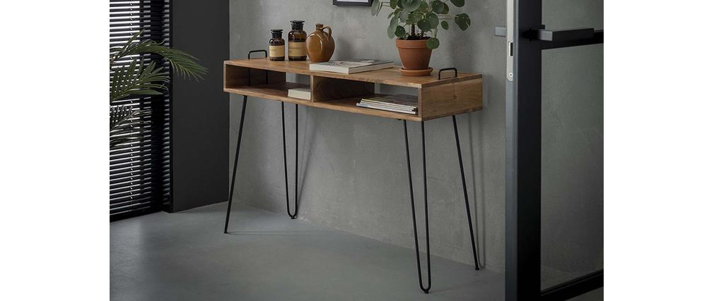 Consola con almacenaje en madera de acacia y metal negro ALVIN