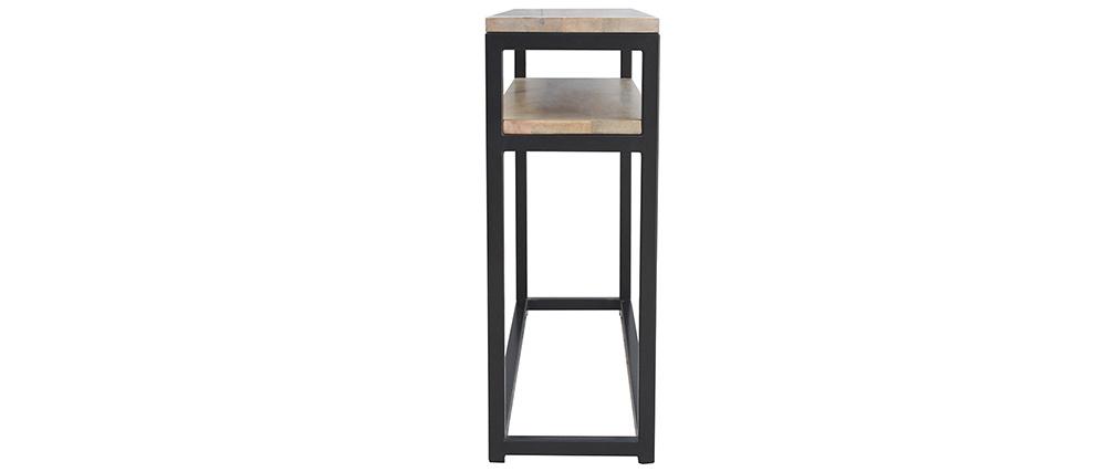 Consola con estante en mango y metal negro 120 cm FACTORY