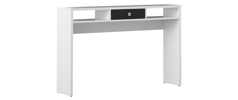 Consola de entrada moderna blanca y cajón negro BRUCE
