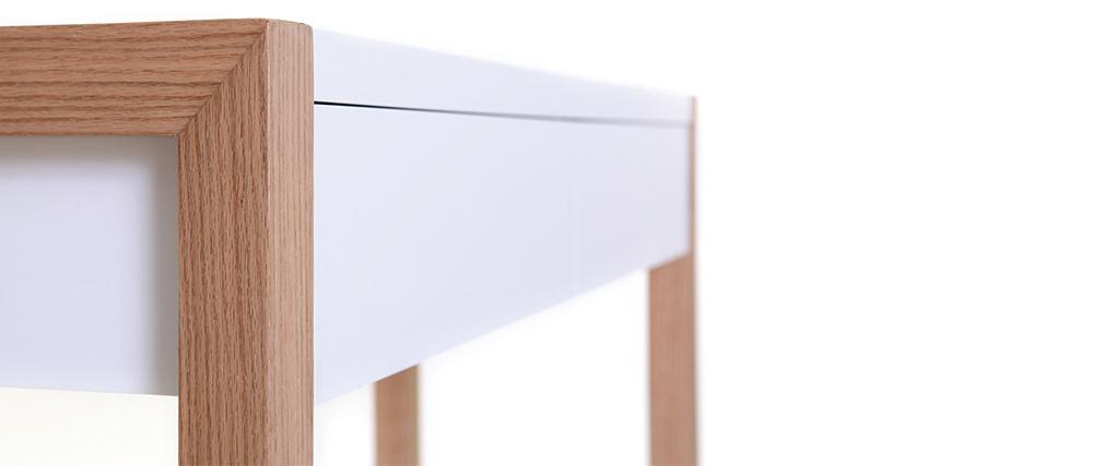 Consola diseño 120 blancha y acabado en roble ARMEL
