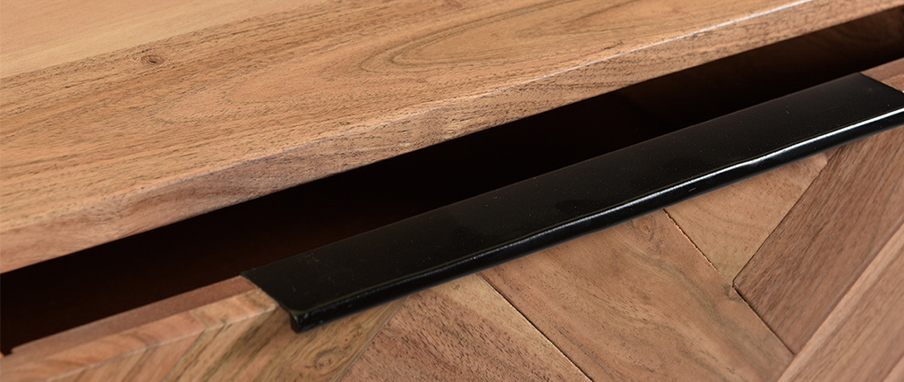 Consola en acacia y metal negro 2 cajones L100 cm STICK