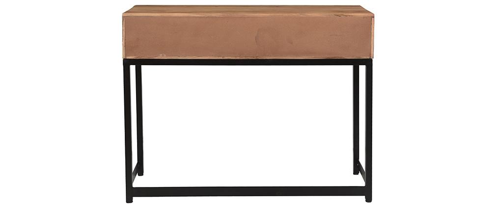 Consola en acacia y metal negro 2 cajones STICK