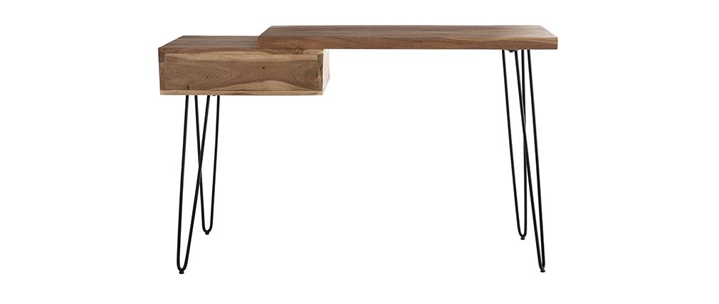 Consola escritorio en acacia y metal negro L120 cm PINA