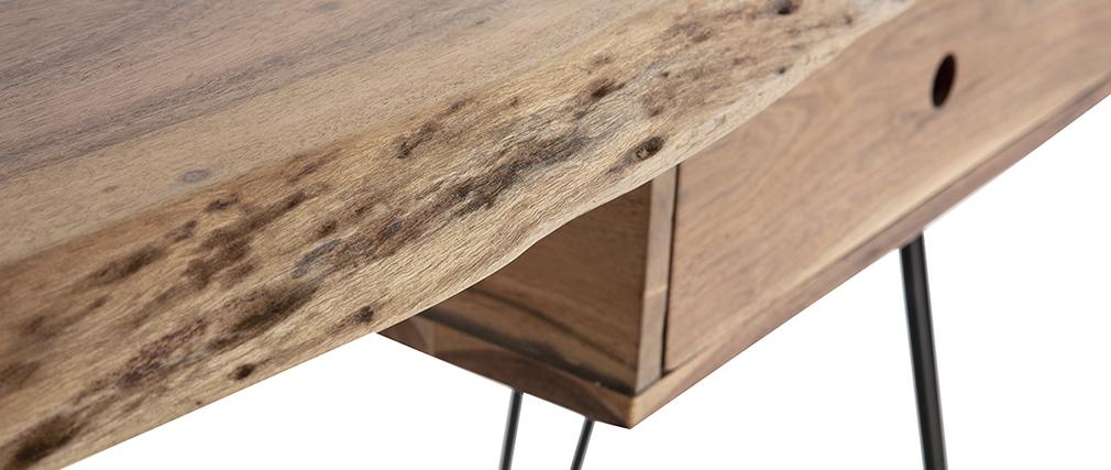 Consola escritorio en acacia y metal negro PINA