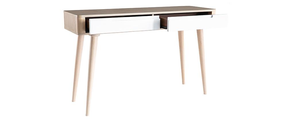 Consola-escritorio nórdico fresno claro y blanco GOTLAND