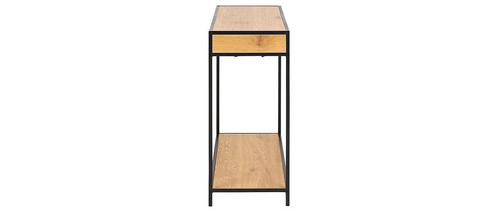 Consola industrial 2 cajones en metal y madera TRESCA