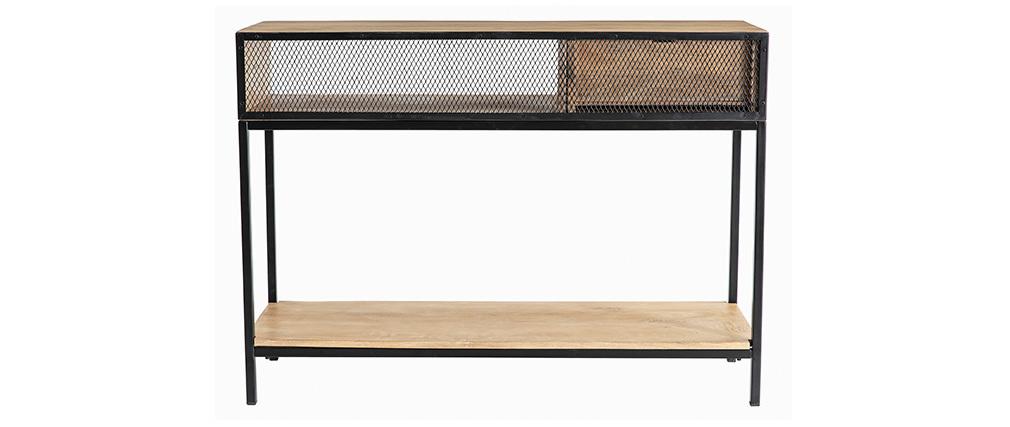 Consola industrial en mango y metal negro L110 cm RACK